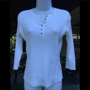 JEANNE PIERRE , size L , 80% COTTON white top
